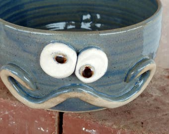 Cereal Bowl Blue Pottery with Handlebar Mustache. Ice Cream Dessert Snack Soup Bowl. Morning Breakfast Cereal Bowl for Him. Mustache Lover