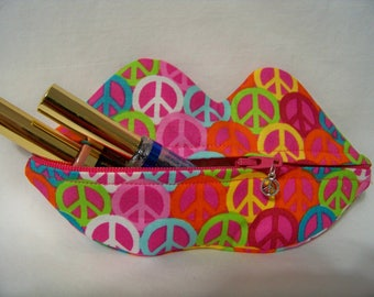 Zippy Lips in Pink Peace - Makeup Pouch - Coin Purse - Lipstick Pouch - Ready To Ship