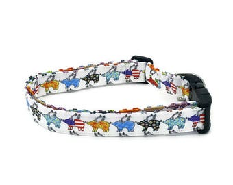 When Pigs Fly Fun Artistic Flying Pig on White Dog Collar