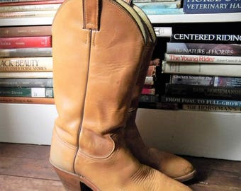 Vintage Cowboy Boots, Men's Western Boots Blond Leather Western Boots Size 8 D By Justin, Mens Vintage Leather Boots, Vintage Cowboy Boots