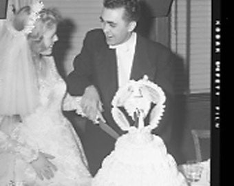 63, 2x3 inch, Black and White Photographic Negatives- 1950's Wedding