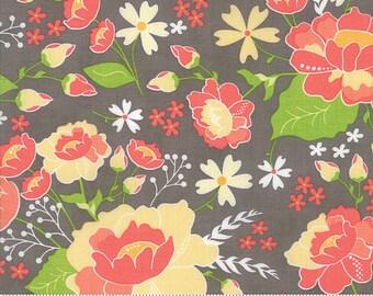 LuLu Lane Moda Floral Flower Fabric Garden Spring Flowers on Slate Grey Gray 29020 20