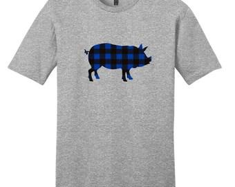 Custom Pattern Pig Silhouette T-Shirt - Farm Animal T-Shirt