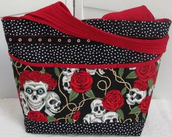 Skulls and Roses Large Tote Bag Rockabilly Skulls Shoulder bag Tattoo Skulls Purse Red and Black Alternative Fashion bag Ready To Ship