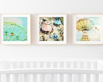 Nursery Art Set // Modern Brightly Colored Nursery Art // Prints for Bright Kids Room// Carnival Dreams Print Set Kids Room - SET OF 3