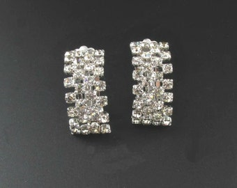 West Germany Rhinestone Earrings, Bridal Earrings, Holiday Earrings, West Germany Earrings, Rhinestone Earrings