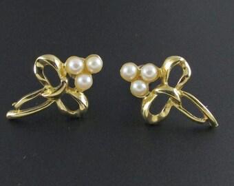 Bow Earrings, Richelieu Earrings, Pearl Earrings, Gold Earrings, Ribbon Earrings, Knot Earrings