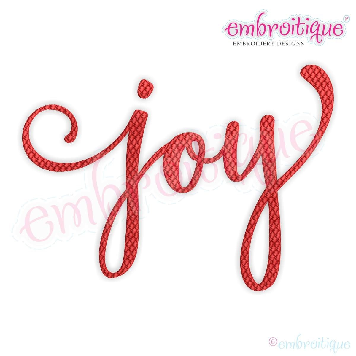 Joy calligraphy patterned fill stitch machine embroidery
