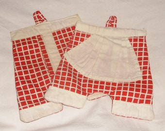 2 Vintage red and white Pants Potholders