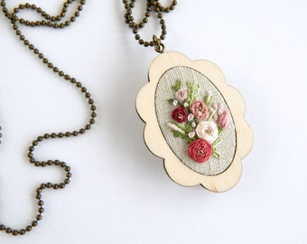 Flower Pendant Necklace / Flower Jewelry / Embroidered Necklace / Unique Handmade Necklace / Fabric Jewelry / Unique handmade necklace