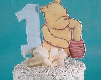 Classic Pooh bear cake topper, fabric Winnie the Pooh first birthday cake, party decoration D029