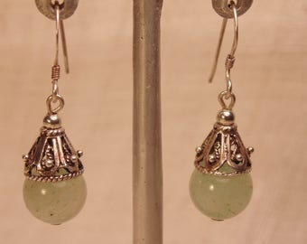 Vintage Sterling Jadeite Earrings Boho Earrings Sterling Boho Jewelry Jadeite Jewelry Sterling Filigree Earrings Green Jade Earrings