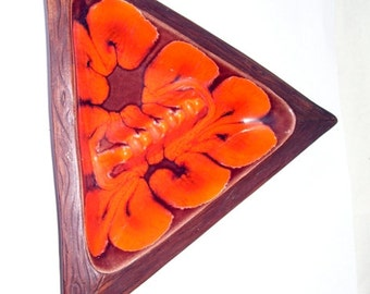 Mid-Century Orange  and Brown Triangle Pottery Ashtray, Modern House Decor, Marked U.S.A. 1002, Art Pottery Ashtray, Studio Line Art