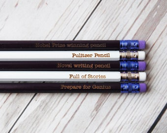 Personalised writers Pencils - Choose your colour and any wording  - Custom Fun pencils - Potential Author Pencil