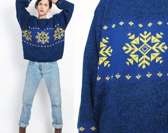 35% OFF SALE 1980s Snowflake Sweater Vintage Womens Christmas Sweater Benetton Blue Sweater Flecked Winter Knitted Geometric Ski Pullover Ju