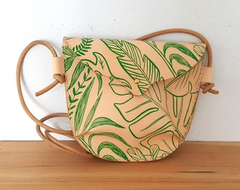 Hand Stitched Leather Small Crossbody Bag in Tropical