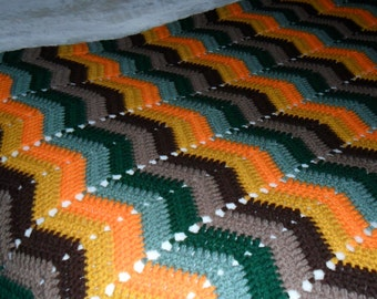 Crochet Afghan(62inL x 34inW) - Crochet Blanket - Crochet Throw ''CHEVRONS in FALL Multi-colors""