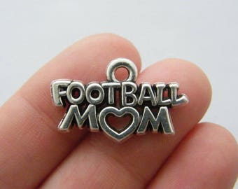 BULK 20 Football mom charms antique silver tone M842