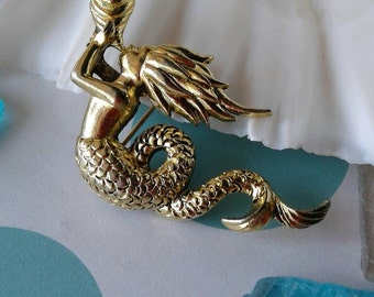Vintage Mermaid Brooch Pin