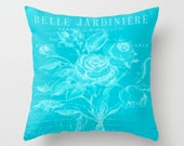 DECORATIVE PILLOW Peacock Blue french floral design, indoor or outdoor finish, square or lumbar cushion, pillow cover, cushion cover