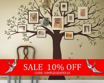 Sale - Wall Decal Family Tree Wall Decal Sticker Family Photo Tree - Two colors - Vinyl Wall Sticker Photo Tree Decal Tree Family