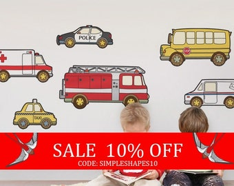 Sale - Emergency Vehicles Public Service Vehicles - Peel and Stick Repositionable Stickers