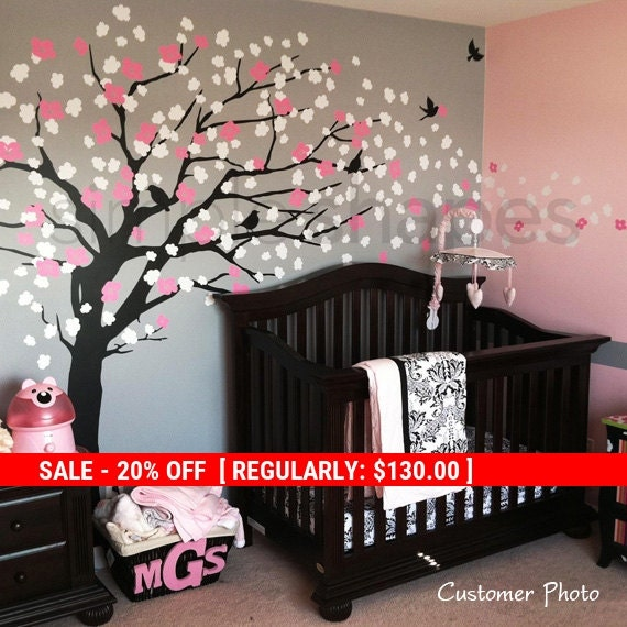 Holiday Sale - Cherry Blossom Tree Wall Decal, Cherry Blossoms Wall Decal, Elegant Style Tree, Large Tree Wall Decal