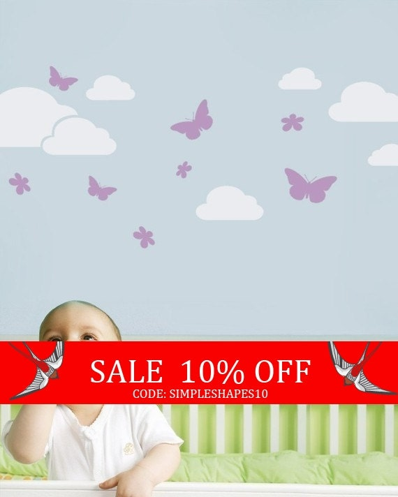Sale - Butterflies in the Sky Decal - Children's Vinyl Wall Sticker