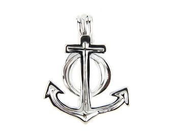 Anchor Locket - Pearl cage - Nautical pendant - Get 3 pieces Silver Plated - gemstone - birthstone - pearl cage
