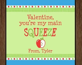 Valentine, You're My Main Squeeze Tag, Applesauce Pouch Valentine Tag