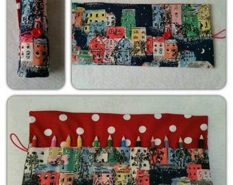 CATH KIDSTON multi colour Townhouses fabric Pencil Crayon roll - holds 12 pencils/crayons (included)