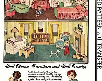 PATTERN - Doll House Furniture and Doll family with dog  - Cut out and make