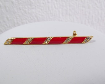 Red Enamel and Diamante Striped  Bar Brooch, Vintage Brooch, Scarf Pin, Tie Pin Costume Jewellery,