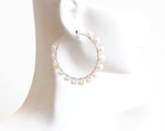 Freshwater Pearl Sterling Silver Hoop Earrings-Pearl Hoop Earrings -Wedding jewelry- Bridal Jewelry-Mother's Day Gift-Bridal Accessories