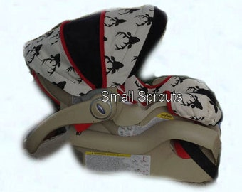 Custom Black Buck/Red Trim/Black Minky Dot Infant Car Seat Cover 5 piece set