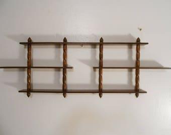 Vintage 3 Tier Lightweight Wood Shelf with Decorative Finials Mid Century Wood Wall Shelf Display Shelf