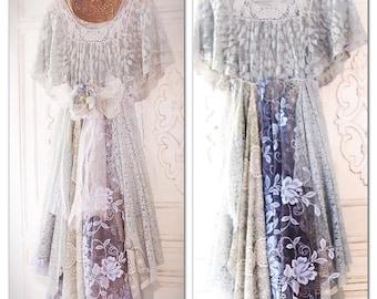 M L Gypsy soul crochet tunic dress, Stevie Nicks French market chic Parisian lace, bohemian style tunic dress, CMA fest, True rebel clothing