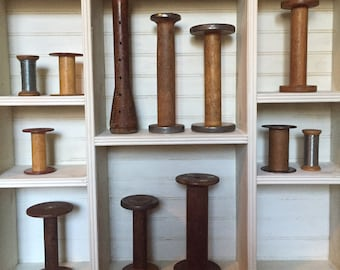 Antique wooden spools… Lot of 12-vintage and original-lot 2