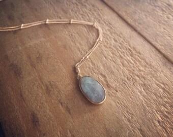 Labradorite Pendant Necklace on Gold Filled Satellite Chain