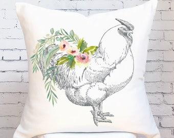 Pillow Cover Farmhouse Decor Floral Hen Pillow