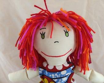 Handcrafted Rag Doll, Multicolored Hair Rag Doll,Removable Clothes,Fabric Doll, Stuffed Doll,Cloth Doll,Rag Dolls,Original Rag Doll,