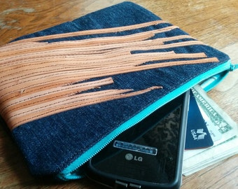 Denim clutch with decorative reclaimed leather strips, teal zipper _ one-of-a-kind
