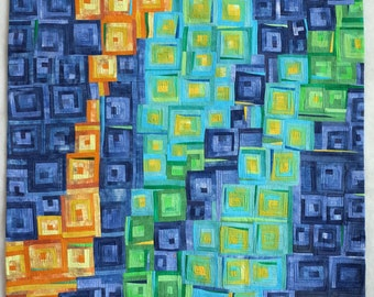 Art quilt, abstract quilt, wall hanging- Sulfur Spring