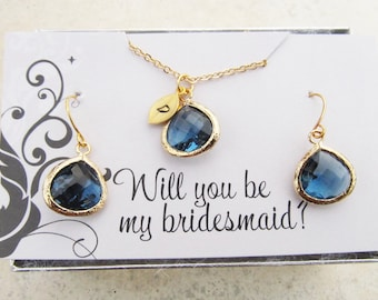 Bridesmaid Proposal Jewelry, Your Choice of Color(s) and Initials, Bridesmaid Jewelry Gold, Bridesmaid Proposal Gift Set, Bridal Party Set