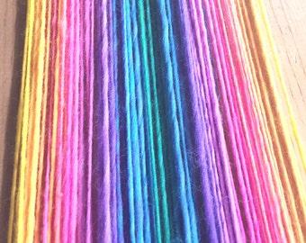 Rainbow yarn, handspun worsted weight  - 60 yards, 1.05 ounce, 30 grams