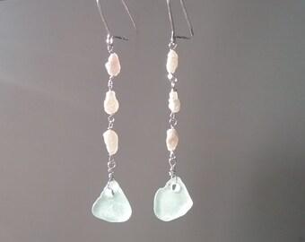 Sterling silver sea glass and pearl dangle earrings ear wires White Light bottle green beachy mermaid Coastal ocean Fine Jewelry delicate