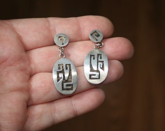 Vintage Hopi Looking Made in  Taxco Mexico Sterling  Post Earrings plus Free USA Shipping!