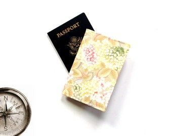 Passport holder, cotton fabric covered passport case, floral print, dainty feminine flowers, traveler gift under 10, passport holder