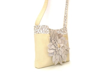 Tote bag, cotton canvas shoulder bag, heavy weight bag, suede flower detail, snap closure