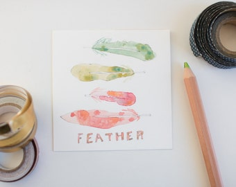 Feathers, Birds, Wings, Watercolor, Illustration, Colorful, Art Print, 5x5